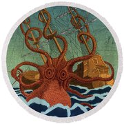 Colossal Octopus Attacking Ship 1801 Round Beach Towel