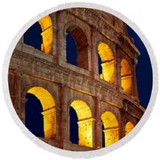 Colosseum And Moon Round Beach Towel