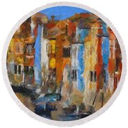 Coloured Houses On Burano Round Beach Towel