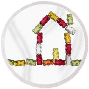 Coloured Jellybabies Formed As A House Round Beach Towel