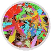 Coloured Leaves By M.l.d. Moerings  2009 Round Beach Towel
