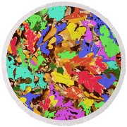 Coloured Oak Leaves By M.l.d. Moerings 2009 Round Beach Towel