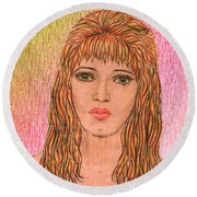 Coloured Pencil Self Portrait Round Beach Towel by Joan-Violet Stretch
