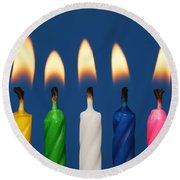Colourful Candles Lit Round Beach Towel
