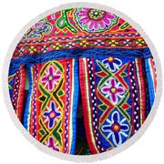 Colourful Fabric Art Round Beach Towel