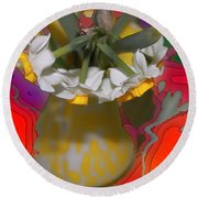 Colourful Flowers Round Beach Towel