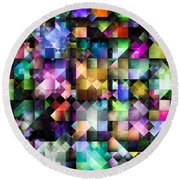 Colourful Fractal Jewels Round Beach Towel
