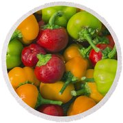 Colourful Mini Bell Peppers Round Beach Towel