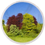 Colourful Trees Round Beach Towel