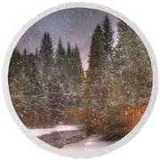 Colours Of Winter Round Beach Towel by Juli Scalzi