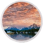 Colter Bay Sunset Round Beach Towel