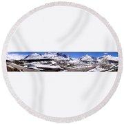 Columbia Icefields, Alberta - Panorama Round Beach Towel