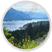 Columbia Lake Which Is Source Of The Columbia River-bc  Round Beach Towel