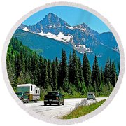 Columbia Mountains In Glacier Np-british Columbia Round Beach Towel