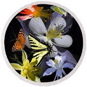 Columbine And Butterfly Collage Round Beach Towel