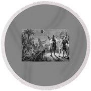 Columbus And The Lunar Eclipse, 1504 Round Beach Towel
