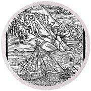 Columbus Hispaniola, 1492 Round Beach Towel