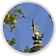 Columbus Monument - Barcelona Round Beach Towel