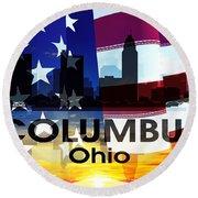 Columbus Oh Patriotic Large Cityscape Round Beach Towel