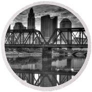 Columbus Ohio Downtown Bw Round Beach Towel