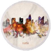 Columbus Painted City Skyline Round Beach Towel
