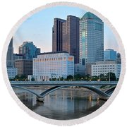 Columbus Panorama Round Beach Towel