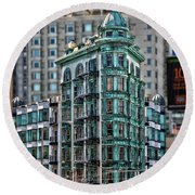 Columbus Tower In San Francisco Round Beach Towel by RicardMN Photography