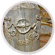 Column Along Sacred Road In Pergamum-turkey  Round Beach Towel