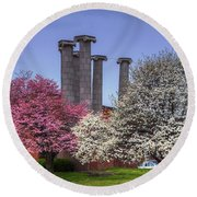 Columns And Dogwood Trees Round Beach Towel