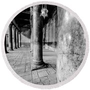 Columns At The Church Of Nativity Black And White Vertical Round Beach Towel