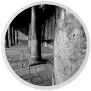 Columns At The Church Of Nativity Round Beach Towel