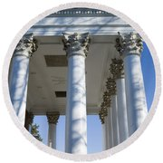 Columns Facing The Lawn Of The Rotunda Round Beach Towel