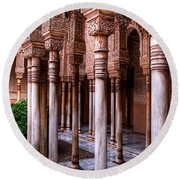 Columns Of The Court Of The Lions Round Beach Towel