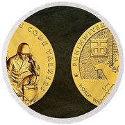 Comanche Nation Tribe Code Talkers Bronze Medal Art  Round Beach Towel