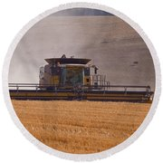 Combine Harvester And Cows Round Beach Towel