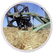 Combine Harvester  Round Beach Towel by Shay Fogelman