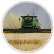 Combine Working A Field On The Round Beach Towel