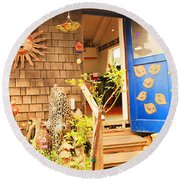 Come On In To A Mendocino Art Studio Round Beach Towel