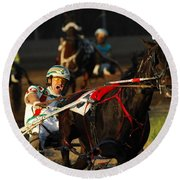Horse Racing Come On Number 6 Round Beach Towel