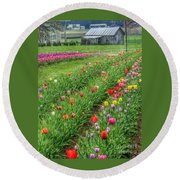 Come See Tulips  Round Beach Towel