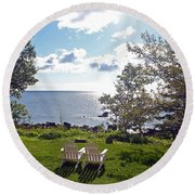 Come Sit With Me Round Beach Towel