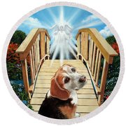 Come Walk With Me Over The Rainbow Bridge Round Beach Towel