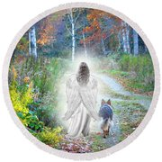 Come Walk With Me Round Beach Towel