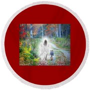Come Walk With Me Round Beach Towel by Sue Long