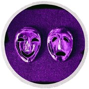 Comedy And Tragedy Masks 2 Round Beach Towel