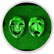 Comedy And Tragedy Masks 3 Round Beach Towel
