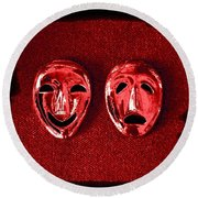 Comedy And Tragedy Masks 4 Round Beach Towel