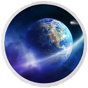 Comet Moving Passing Planet Earth Round Beach Towel