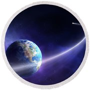 Comet Moving Past Planet Earth Round Beach Towel