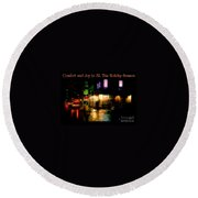 Comfort And Joy To All This Holiday Season - Corner In The Rain - Holiday And Christmas Card Round Beach Towel